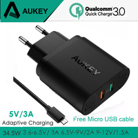 AUKEY 2 USB Charger Quick Charge 3.0 Portable Wall Fast Charger Travel Fast USB Phone Charger fastest Charging for Phones iPad