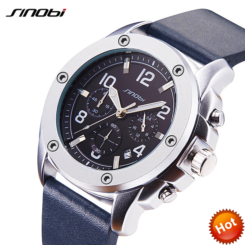 SINOBI Luxury New Sport Watch Man Chronograph Watches At Fire-Sale Price Men Quartz Watch Wrist Watch Real Chronograph Calenda sinobi original vogue new design wrist watches for men dress office waterproof men watch travel factory directly sale relojes