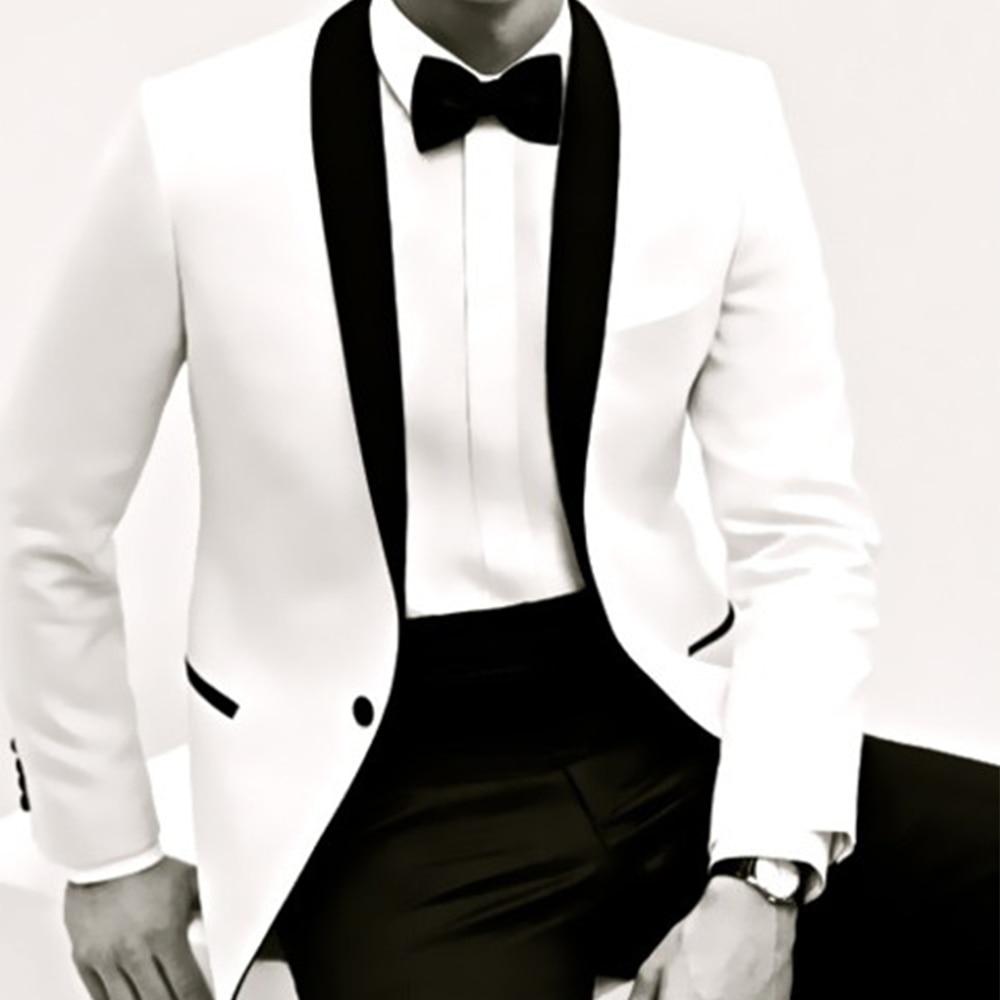 Erkek Kıyafeti'ten T. Elbise'de Sarawan Custom Made Beyaz Smokin Ceket Siyah Şal Yaka Siyah Pantolon, Beyaz Düğün Smokin Erkekler Için, ISMARLAMA DAMAT SMOKIN,'da  Grup 1