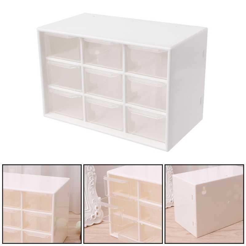 9 çekmeceli plastik depolama dolabı masaüstü makyaj kutusu kutusu mücevher organizatör kahverengi/beyaz