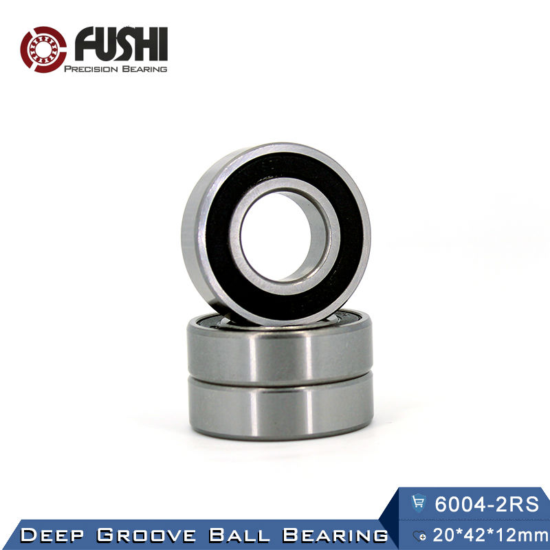 цена 6004RS Bearing ABEC-3 (4 PCS) 20*42*12 mm Deep Groove 6004-2RS Ball Bearings 6004RZ 180104 RZ RS 6004 2RS EMQ Quality