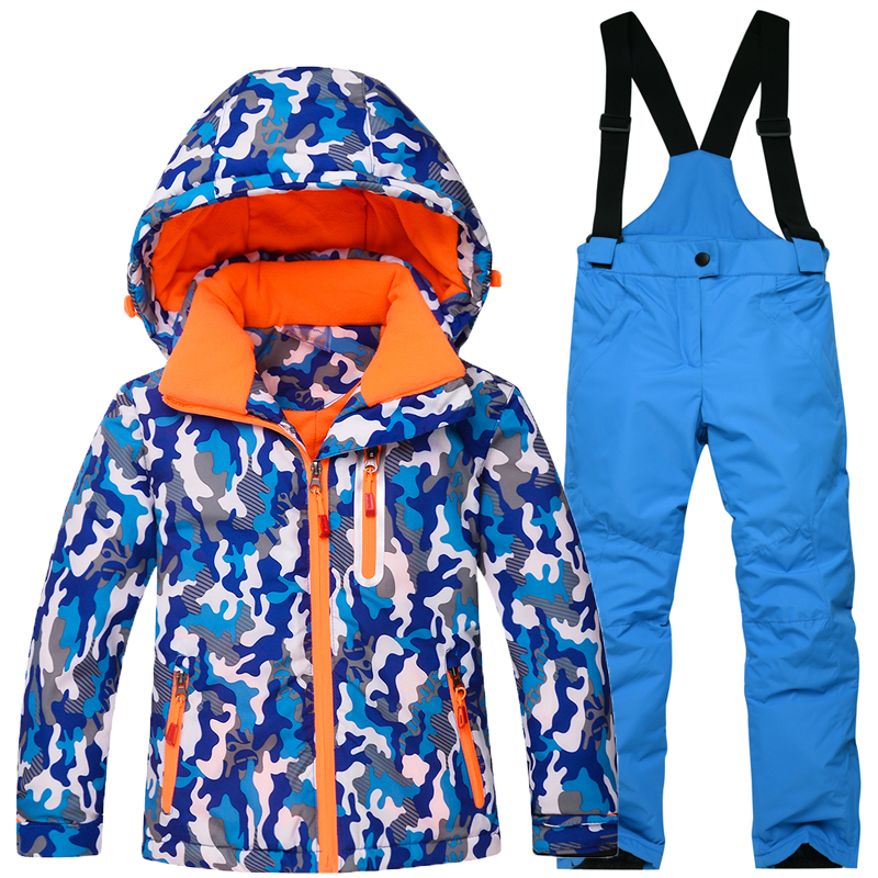 Professional Children's skiing Suit Winter Outdoor Windproof Waterproof Boys Girls Thick Warm Suits jacket +Ski Pants 2pcs Set boys ski pants girls waterproof skiing pants breathable windproof winter warm trousers outdoor snowboarding full length kl7066
