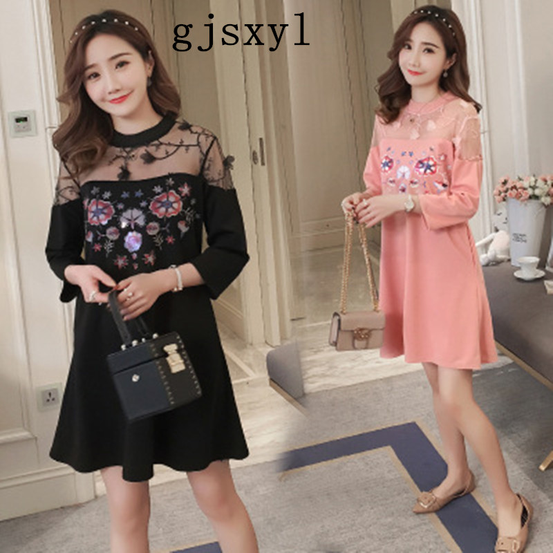 gjsxyl 2018 spring new maternity clothes, summer nets, summer sewing skirt round neck comfortable fashion pregnant women dress