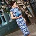 Chinese Women's Satin Print Cheongsam Cotton & Silk Long Qipao Chinese Oriental Vintage Qipao Dresses Slim Silk Cheongsams Dress