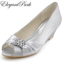 Woman Wedges Mid Heel Wedding Bridal Shoes Silver Peep Toe Rhinestone Satin Lady Bride Bridesmaid Prom