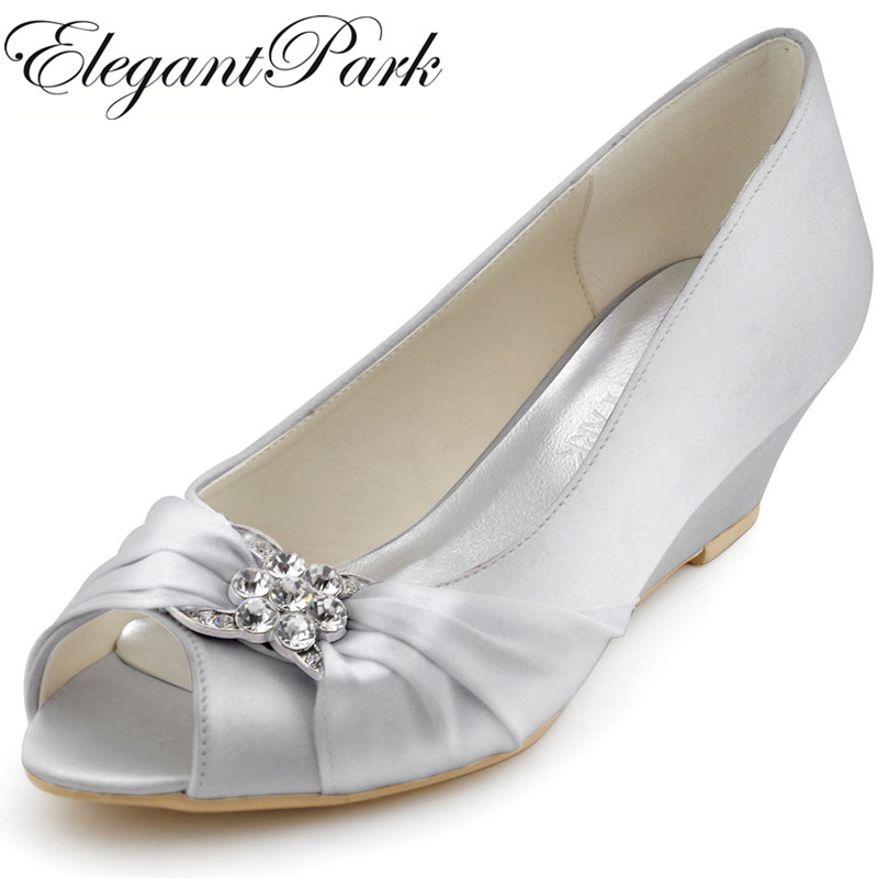 цена на Woman wedges mid heel wedding bridal shoes silver peep toe rhinestone satin lady bride bridesmaid prom party dress pumps WP1403S