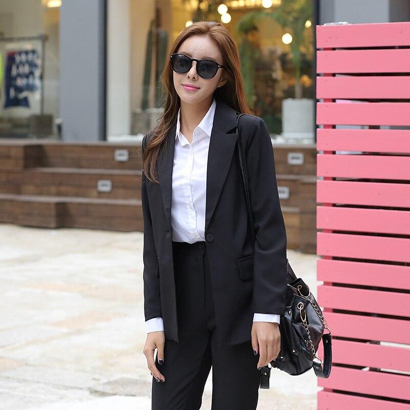 2018 New Fashion Slim Business Wear Elegant Women Office OL Jacket Set Formal Blazer + Pants Suit Feminino Female