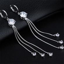 Free shipping New Arrival Wedding Luxurious Long Tassel Earrings For Women Pure 925 Sterling Silver Fine Jewelry Pendientes E204