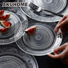 Nordic Embossed Glass Plate Lead Free Fruit Dessert Snack Plate Creative Home Dried Fruit