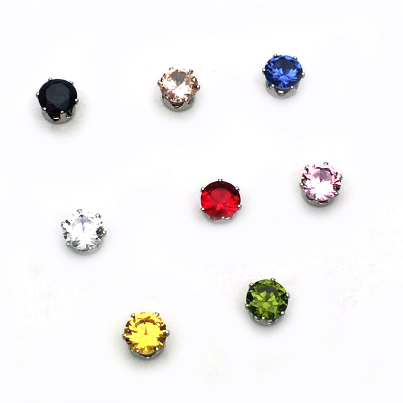 1 Pair 6/8mm Magnetic Magnet Ear Stud Easy Use Crystal Stone Stud Earrings For Women Men Earrings Clip On No Ear Hole gift