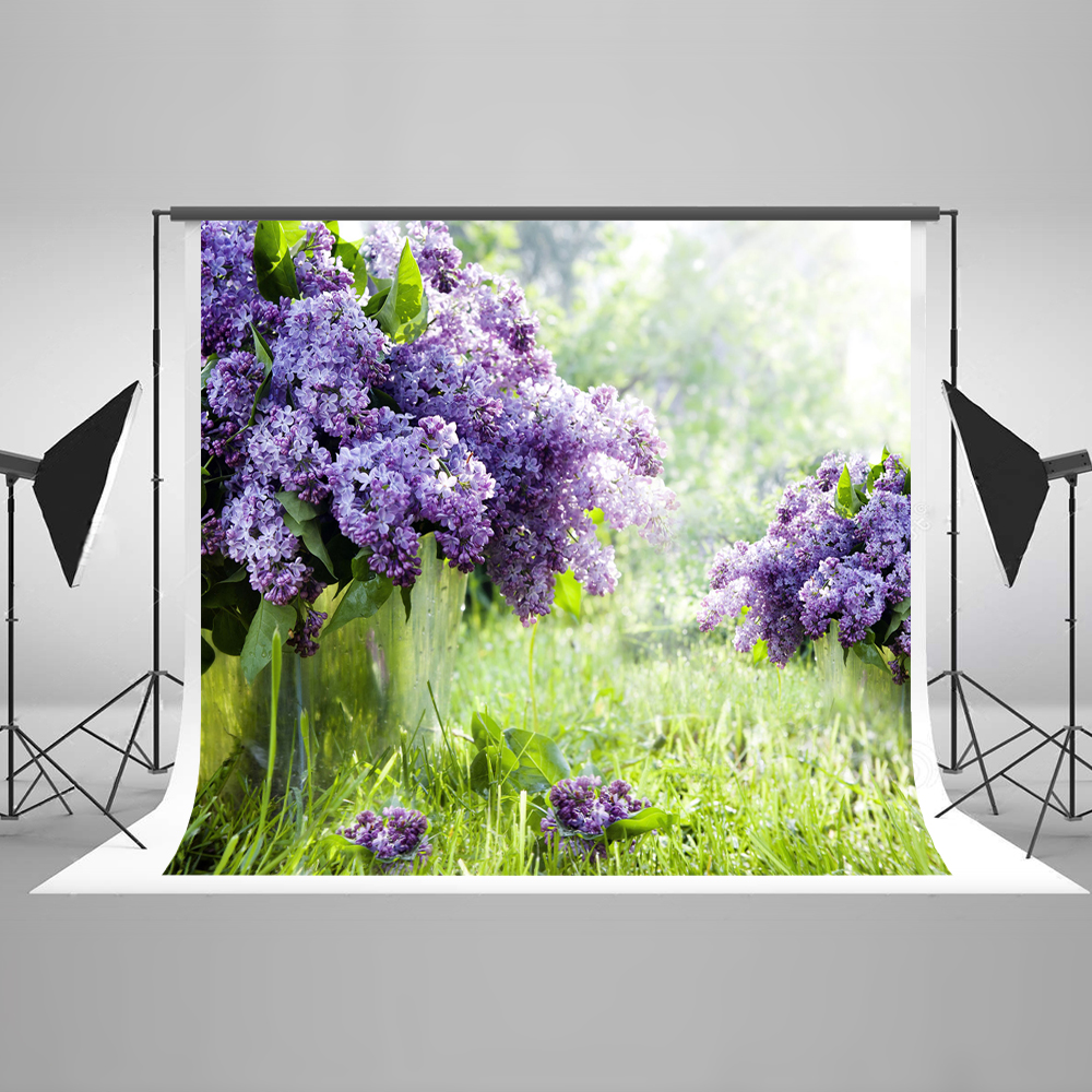Kate Purple Flowers 10x10ft Wedding Photography Backdrop Countryside