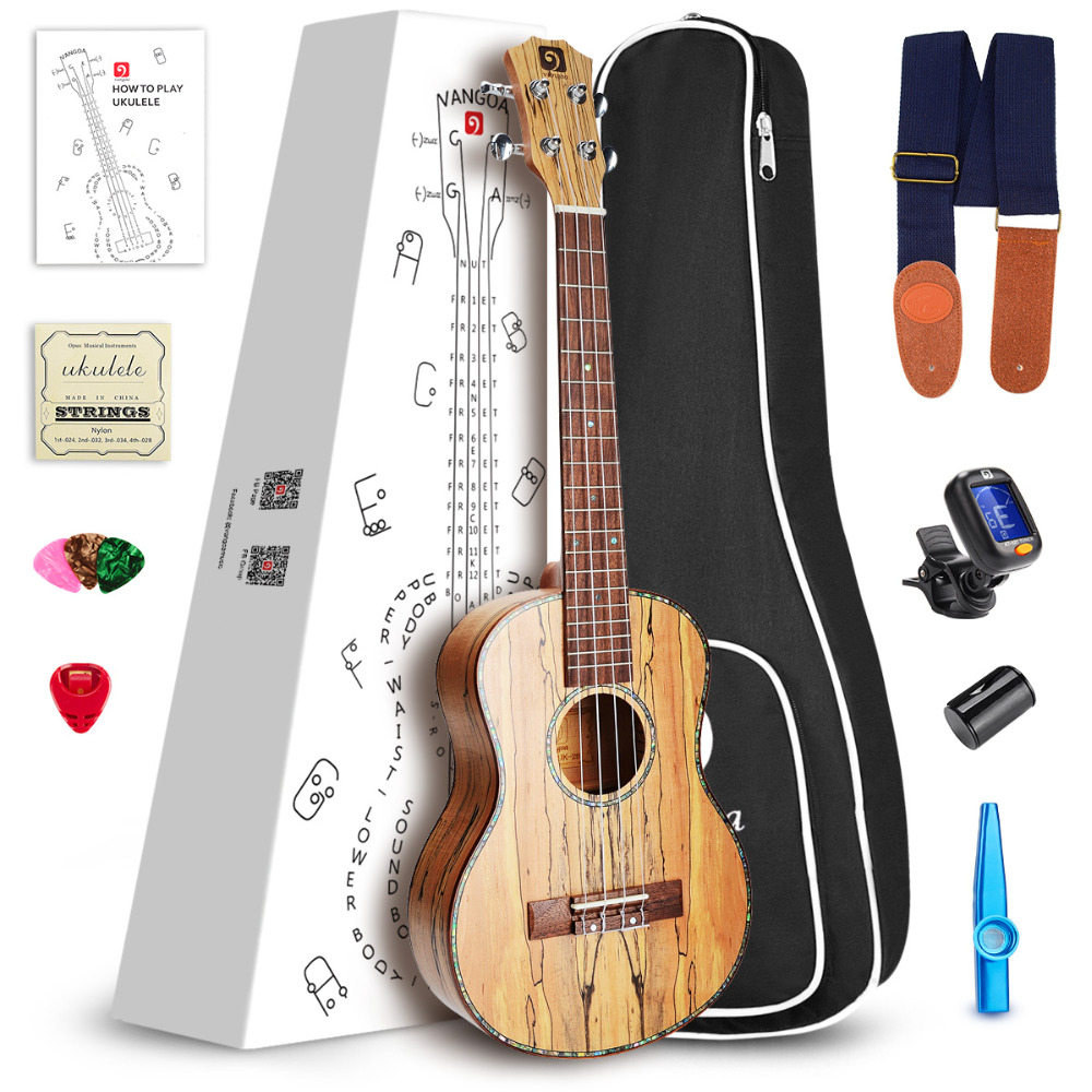 26 Inch Tenor Acoustic Ukulele Spalted Maple Wood Hawaiian Guitar with Starter Kit
