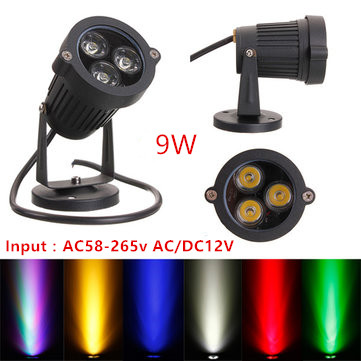 2pcs 9W <font><b>LED</b></font> Lawn lamps Outdoor lighting IP65 DC/AC <font><b>12V</b></font> AC110V 220V waterproof <font><b>LED</b></font> <font><b>Garden</b></font> Wall Yard Path Pond Flood Spot Light image
