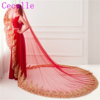 New Wedding Red Gold Lace Edge Arabic Long Cathedral Bridal Veil One Layer Wedding Veil For Brides Accessories Real Photos 2019