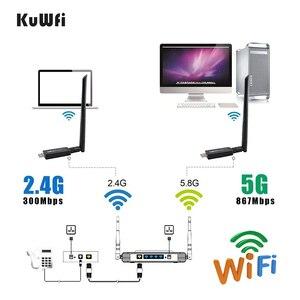 Image 4 - 1200Mbps USB3.0 Dual Band 802.11ac Draadloze Usb Netwerkkaart Wifi Lan Dongle Bluetooth Adapter Met 5 Dbi Antenne
