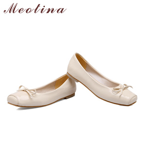 Image 5 - Meotina Women Shoes Ballet Flats Women Flats Bow Square Toe Ballerina Flat Boat Shoes Loafers Shoes Big Size 33 46 Zapatos Mujer
