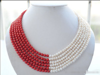 Lovely Fine 6strands 6mm white round freshwater pearl red coral bead necklace 17 22inch Nobility Woman's jewelry Girl gift