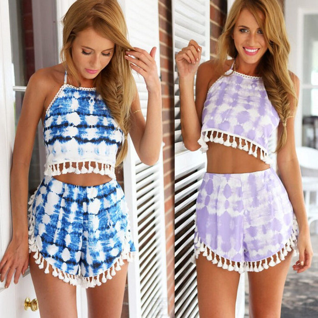 5664ca0e2f0 free shipping 2015 Summer Women Clothing Outfit 2 Piece Set Crop Top Blouse  Shirt Short Pants Mini Print tassel rompers S- L