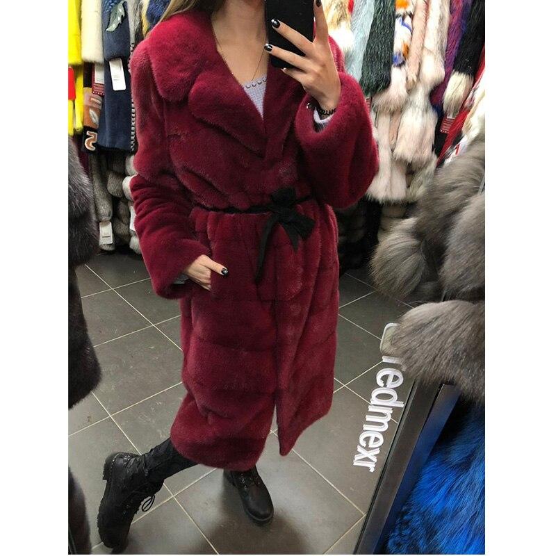 Avec Luxury Femmes Real Puls Plus Couleur Manteau Col La Vison Personnaliser Rouge D'hiver De Naturelle Taille Fourrure Fursarcar OPvwq00S