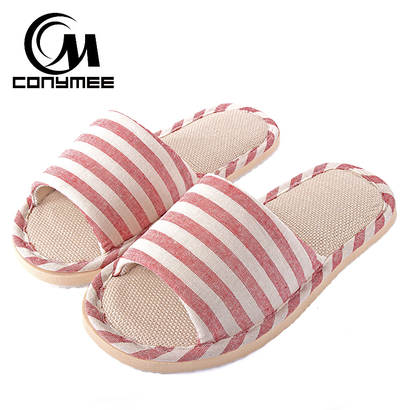 Summer Women Flax Indoor Slippers Casual Flats Shoes Breathable Linen Beach Sandals Flip Flops Striped Female Home Bath Slippers