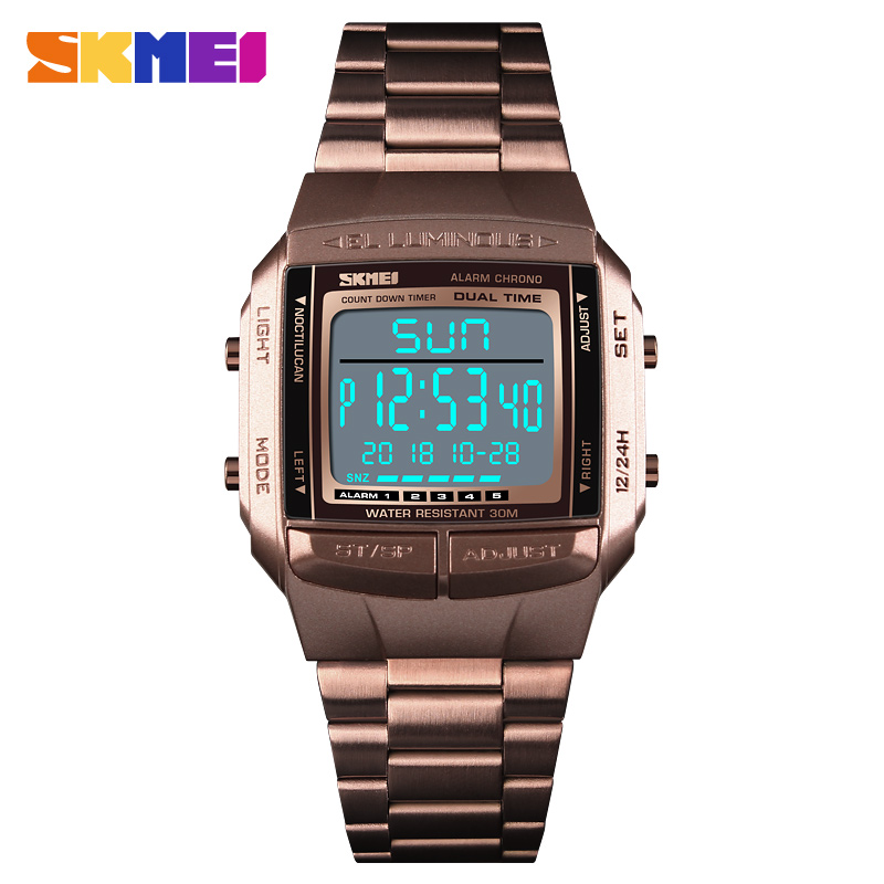 <font><b>SKMEI</b></font> Luxury Top Men Sports Watches Alarm Countdown Waterproof Electronic LED Digital Wrist Watches Clock Man relogio masculino image