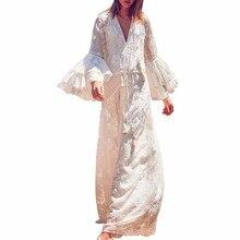 Summer Sundress Long Women White Beach Dress Sleeve Loose Sexy Lace Boho Maxi