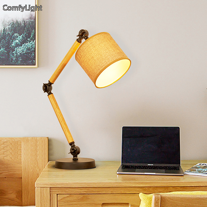 LED Desk Lamp wood Swing Arm Led Desk Lamp 6W Eye-Care Led Table Lamp bedside night light adjust nordic design Led Reading Light huan jun shi led dimmable desk lamp usb rechargeable led table lamp atmosphere night light eye care adjustable rgb table light