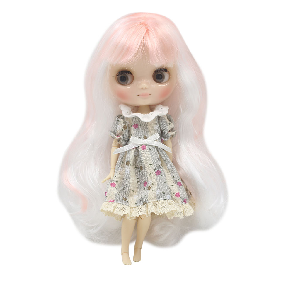 Nude middie blyth joint doll pink mix white hair Transparent face suitable DIY gift for girl