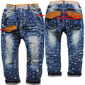 3680  kids jeans soft  denim  navy  blue casual  pants trousers  spring  autumn  boys girls little cross trousers casual  stars