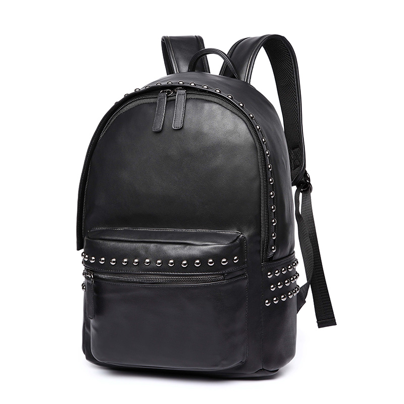 Fashion Rivets Mens Backpacks Black Zipper School Bags 14 Inches Laptop Man Backpacks PU Leather Waterproof Travel Bag For MaleFashion Rivets Mens Backpacks Black Zipper School Bags 14 Inches Laptop Man Backpacks PU Leather Waterproof Travel Bag For Male