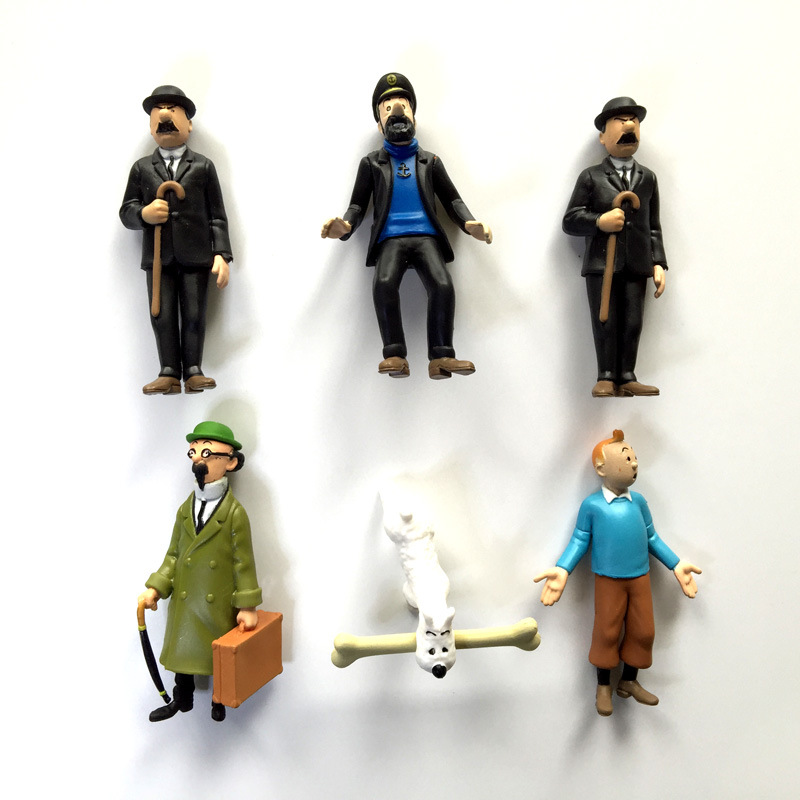 6pcs//lot The Adventures of Tintin PVC Action Figures Tintin Snowy Dog Collectibl