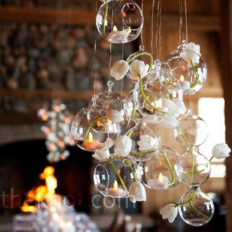 18pcs/Lot O.RoseLif  Glass Hanging Candle Holders Christmas Decorations For Home Candlestick Wedding Centerpieces decoration