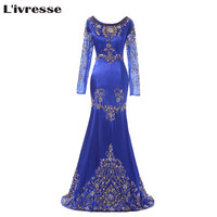 2016 Stunning Royal Blue Beaded Muslim Evening Dress Long Sleeves Moroccan Kaftan Dress Scoop Chiffon Party