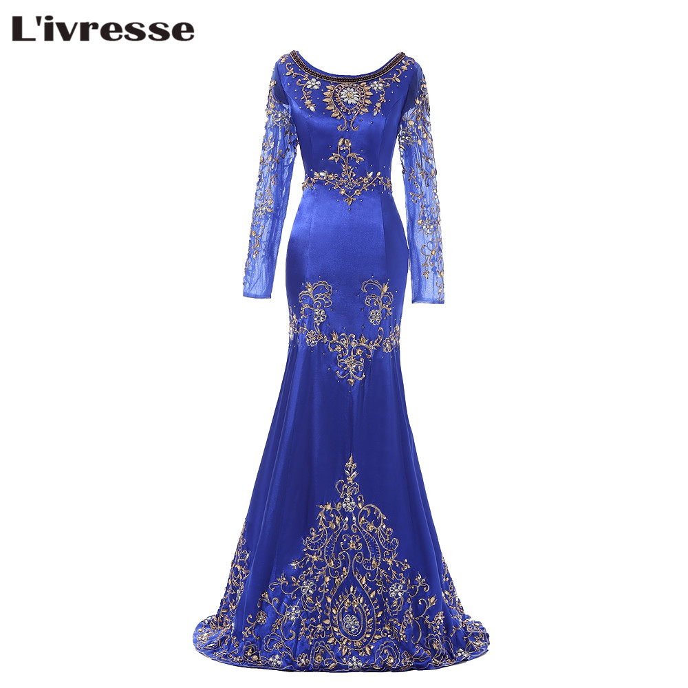 L'ivresse 2017 Royal Blue Beaded Muslim Evening Dress Long Sleeves Moroccan Kaftan Dress Stretch Satin Chiffon Party Gowns FY171