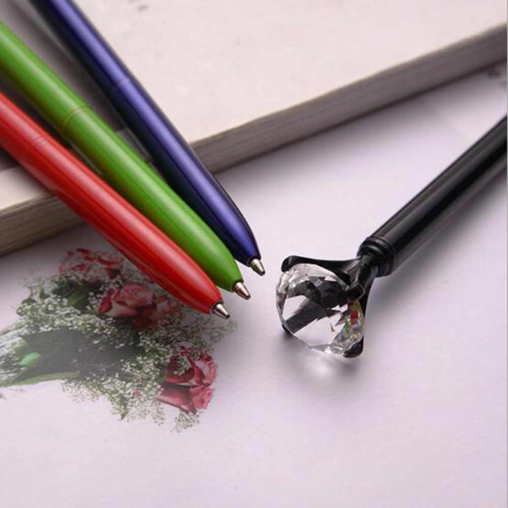 Creativo 19 quilates grandes diamantes bolígrafos de Metal gema cristal bolígrafo papelería navideña