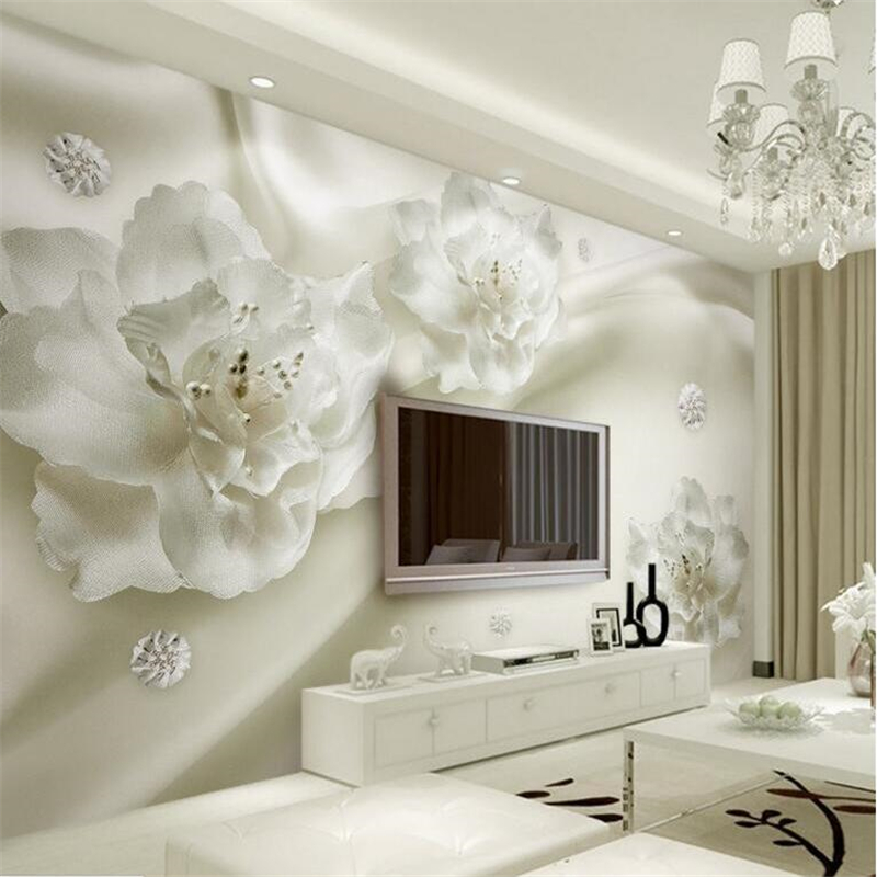 Beibehang Custom Sitting Room Wall Murals Of 3 D Silk Large White Pearl Flower Paintings Relaxed Photo Wallpaper For Living Room