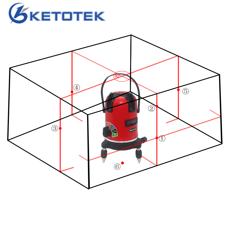 5 lines Laser Level 360 Rotary Level Laser Self Leveling Horizontal Vertical Cross line Outdoor Mode with External Power Supply