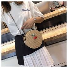 купить Woven Rattan Bag Round Straw Shoulder Bag Small Beach HandBags Women Summer Hollow Handmade Messenger Crossbody Bags по цене 692.3 рублей