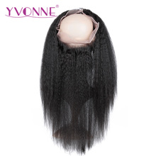 YVONNE 360 Lace Frontal Brazilian Kinky Straight Virgin Hair 12″-16″ Natural Color 100% Human Hair With Adjustment