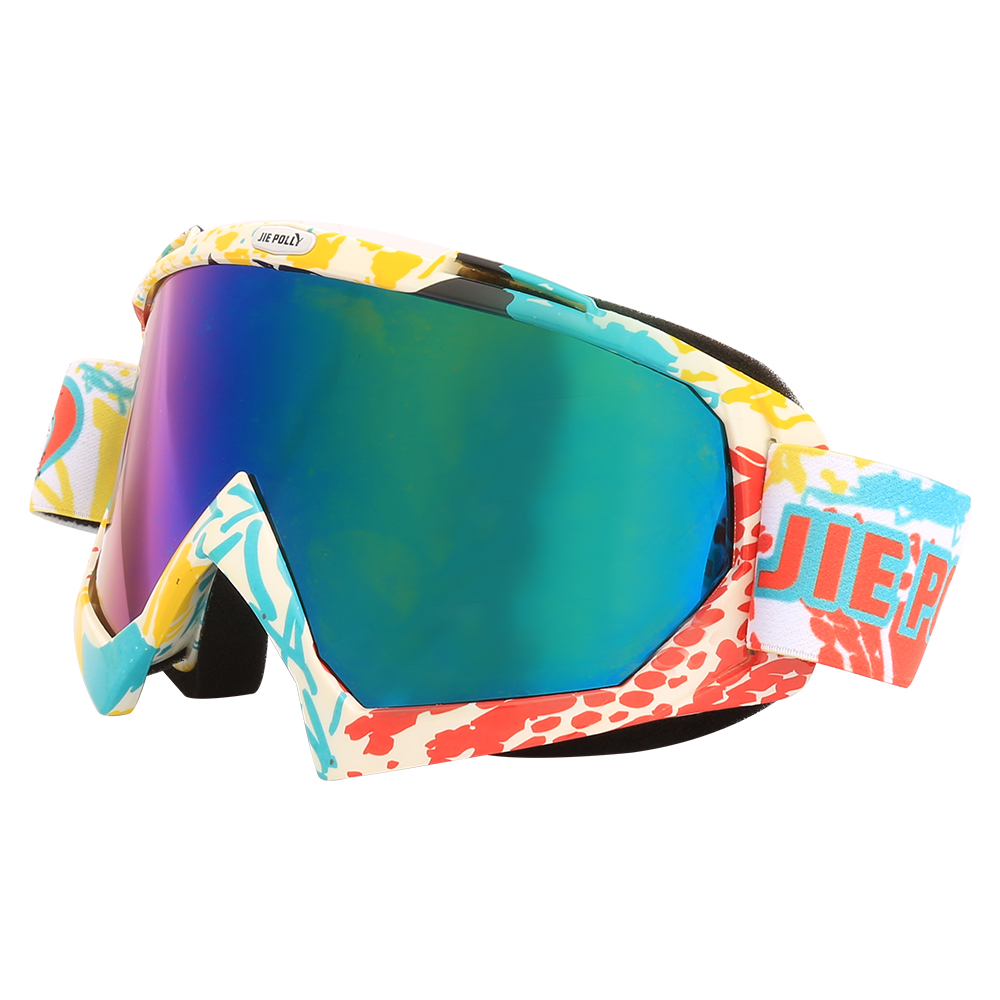 Jiepolly Ski Glasses Skiing Snow Snowboard Snowbile Sunglasses Double Layers Multi Color Lens Skating Eyewear Windproof
