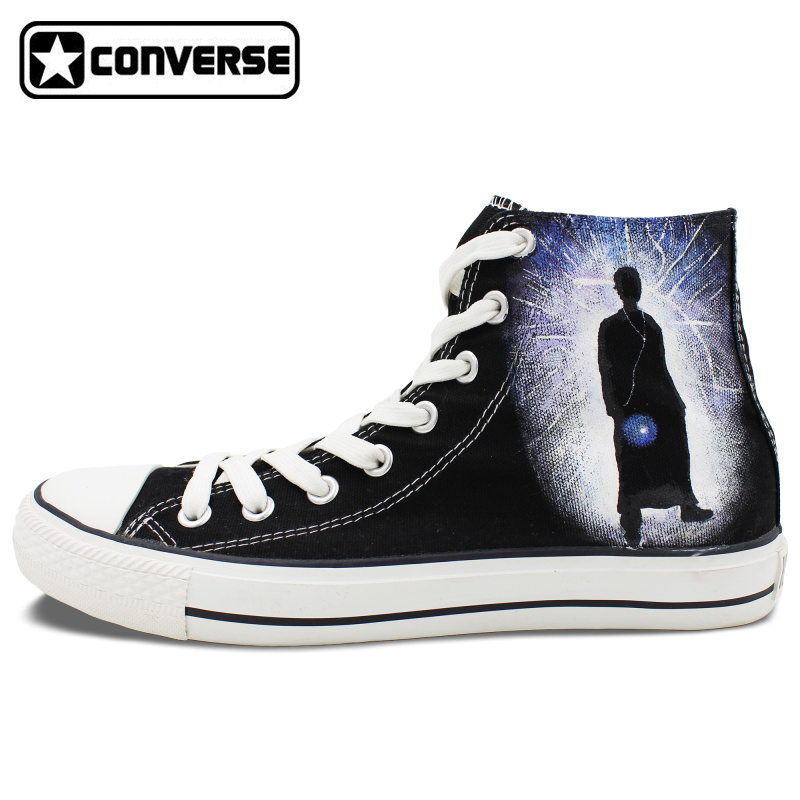 Design Black Converse Chuck Taylor font b Shoes b font Hand Painted Police Box Athletic High