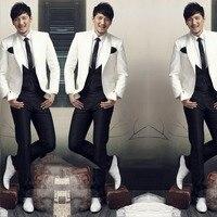 White Shawl Collar Men Suits One Button Fashion Tuxedos Custome Homme Fashion TernoMasculino Jacket Pant Tie
