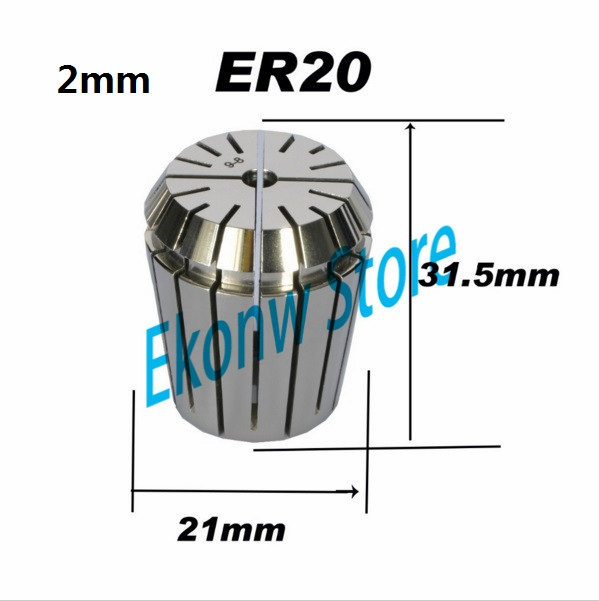 Free Shipping 1PCS 2mm ER ER20 Collet Chuck for Spindle Motor Engraving/Grinding/Milling/Boring/Drilling/Tapping