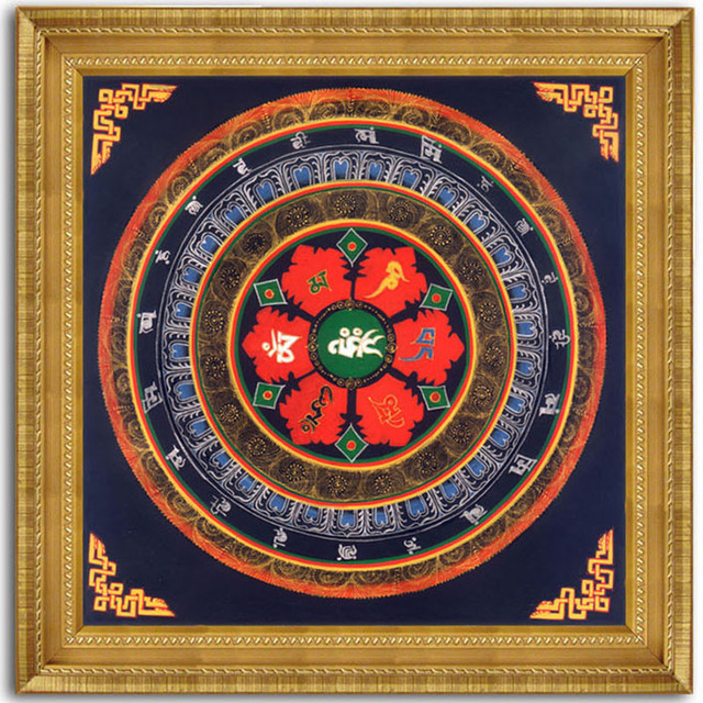 Modern Thangka Art Painting Tibetan Mandala Faith Buddha Oil Canvas ...
