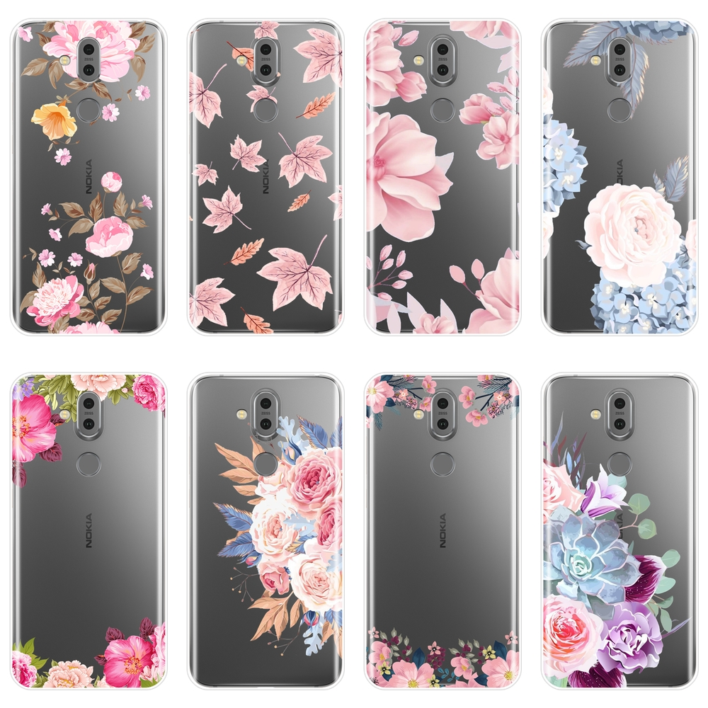 TPU Rose Flower Pink Floral <font><b>Back</b></font> <font><b>Cover</b></font> For <font><b>Nokia</b></font> 2.1 3.1 5.1 <font><b>6.1</b></font> 7.1 <font><b>Plus</b></font> Soft <font><b>Silicone</b></font> Phone Case For <font><b>Nokia</b></font> 7.1 <font><b>6.1</b></font> 5.1 3.1 2.1 image