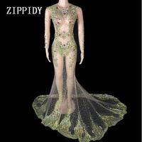 Блестящие разноцветными кристаллами большой поезд платье Для женщин роскошный перспектива платье вечерний костюм вечерние платье Праздну