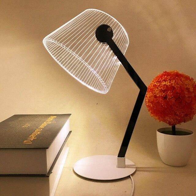 4W 3D Effect Stereo Vision LED Desk Lamp Acrylic Luminous Lampshade LED Light Living Room Bedroom Reading Lamp Novelty Lighting