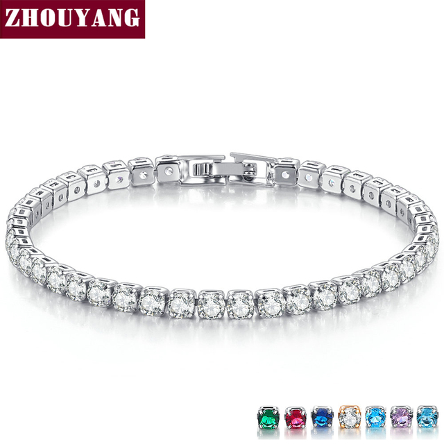 ZHOUYANG Bracelet For Women Luxury Style 4 Claws Mosaic Cubic Zirconia Rose Gold Silver Color Wedding Fashion Jewelry H027 H080