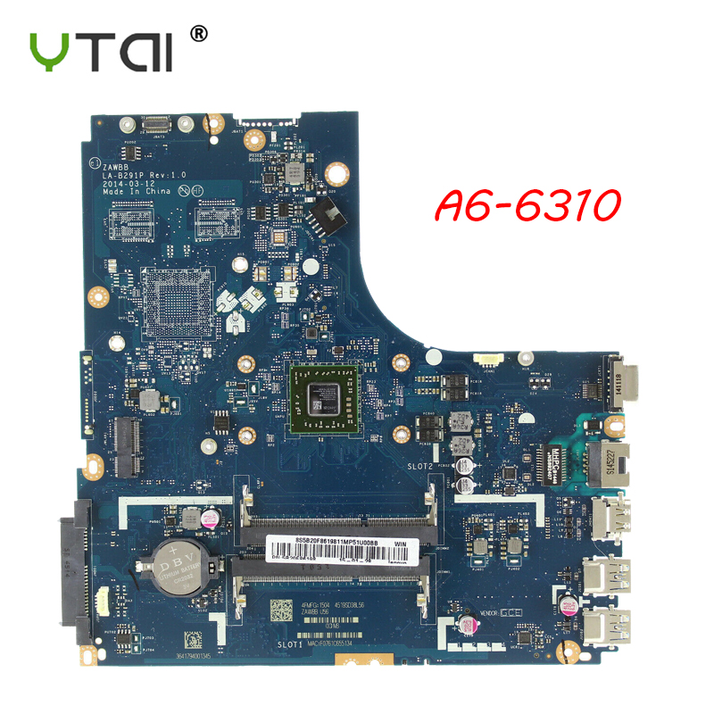 Laptop motherboard NEW For Lenovo B50 45 motherboard A6 6310 5B20F86202 ZAWBA BB LA B291P REV