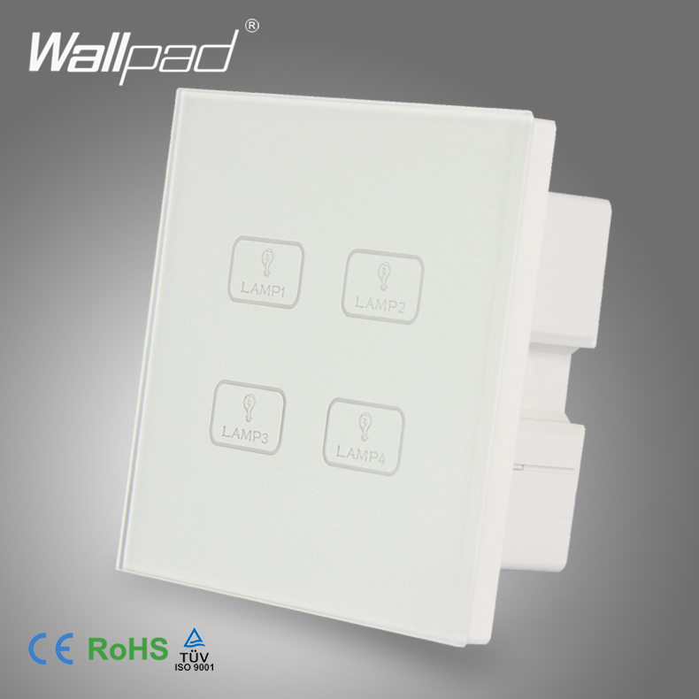 цена на 4 Gang Touch New Design Wallpad White Crystal Glass Switch 4 Gang Touch Screen Sensor Light Wall Switch